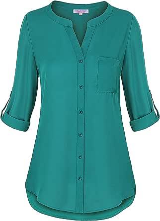 Misswor Womens Roll Sleeve Button Down Shirt