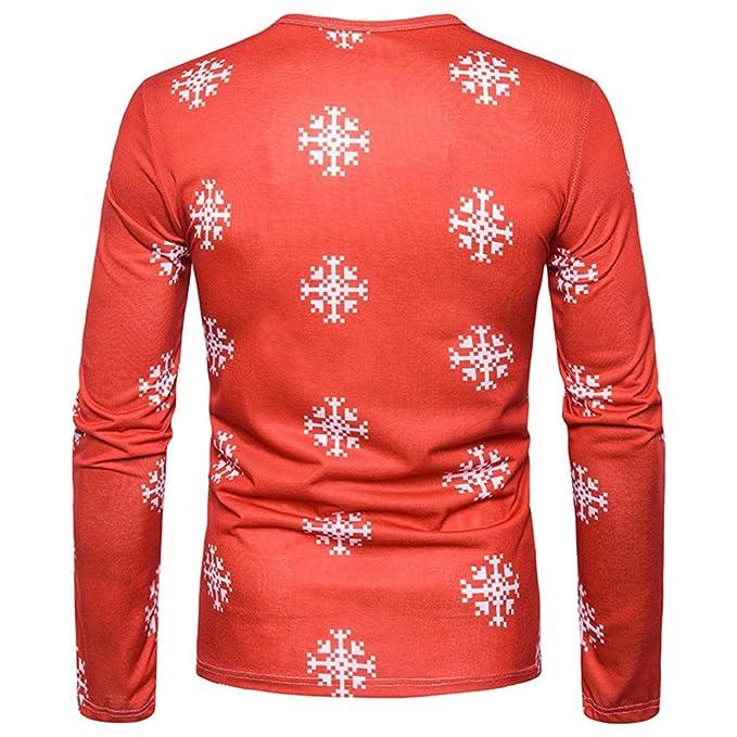 Camiseta de manga larga de Navidad para hombres, LILICAT® Blusa Tops de la impresión de la Navidad del otoño de 2018 moda: Amazon.es: Deportes y aire libre