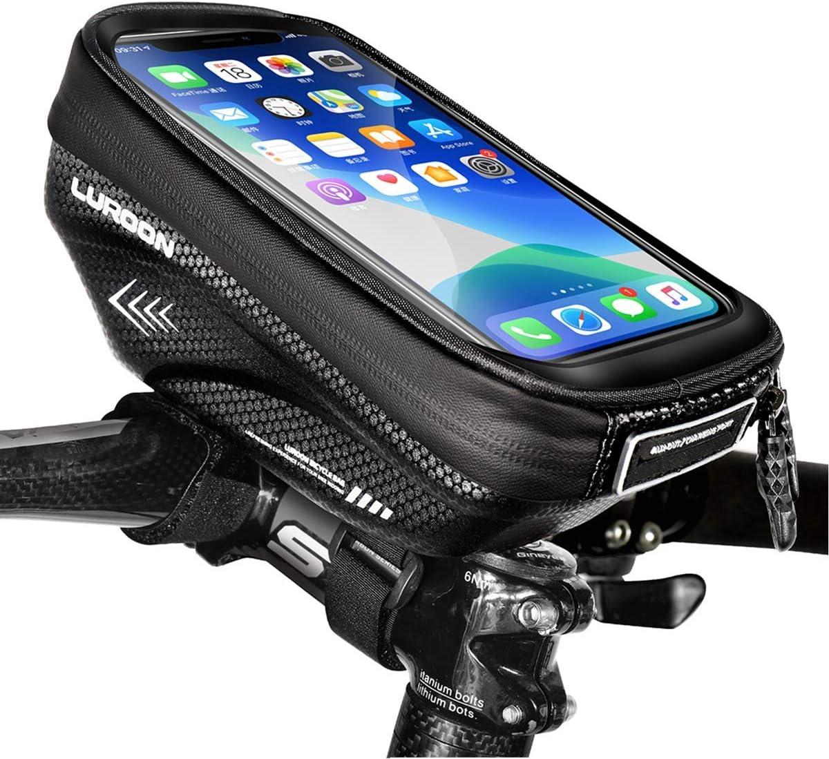 LUROON Bolsa Bicicleta Manillar, Bolso de Bici Impermeable con Ventana para Pantalla Táctil para Telefono Móvil, Bolsa para Cuadro Bicicleta para Teléfono Movil Dentro de 6,5 Pulgadas