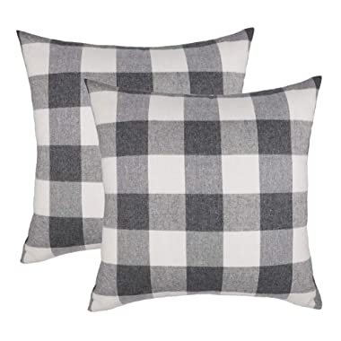 4TH Emotion 20x20 Grey White Buffalo Check Plaids Throw Pillow Case Cushion Cover Farmhouse Decor Cotton Polyester for Sofa Set of 2