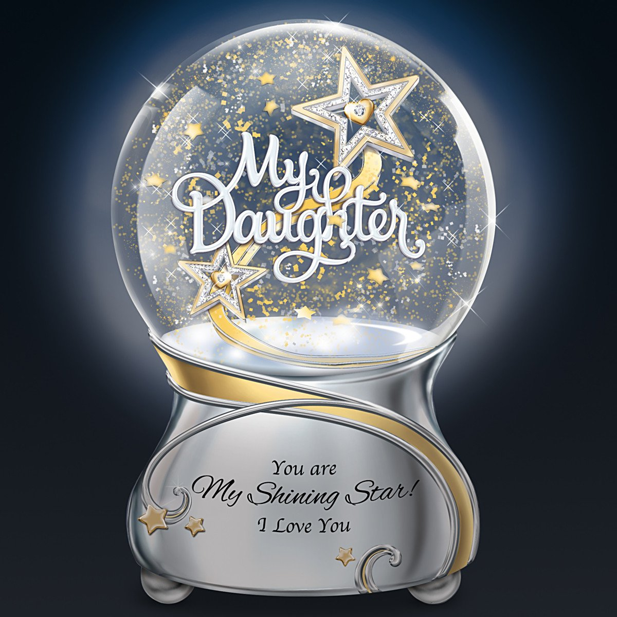 My Daughter You Are My Shining Star Illuminated Musical Glitter Globe Lights Up by The Bradford Exchange by Bradford Exchange (Image #2)