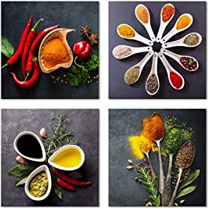 Pyradecor 4 Pieces Colorful Spices and Spoon Vintage Canvas Prints Still Life Paintings Pictures Canvas Wall Art for Living Rome Home Kitchen Decorations AH4090-3030