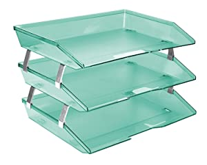 Acrimet Facility 3 Tiers Triple Letter Tray (Clear Green Color)