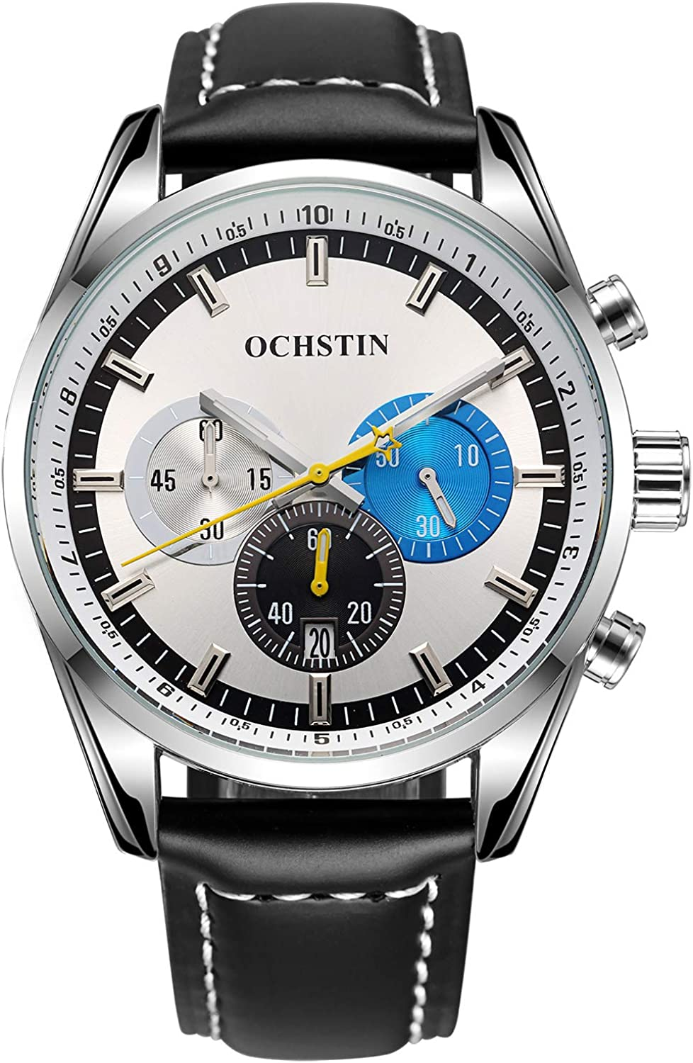 OCHSTIN Mens Chronograph Silver Stainless Steel Watch Waterproof White Dial Leather Quartz Watches