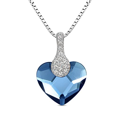 """T400 Jewelers """"Sweet Heart"""" 925 Sterling Silver Pendant Necklace Made with Swarovski Crystals ,16""""Love Gift"""