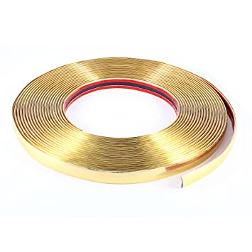 15M X 18mm Plástico Flexible Moldura Embellecedor En Tira Color Dorado para Coche Auto: Amazon.es: Coche y moto