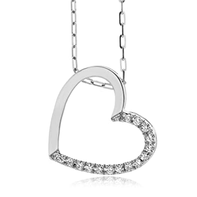 Miore 925 Sterling Silver Necklace with Round Brilliant (0.01ct) on Heart Pendant 45cm Anchor Chain for Women vbbKQFs2