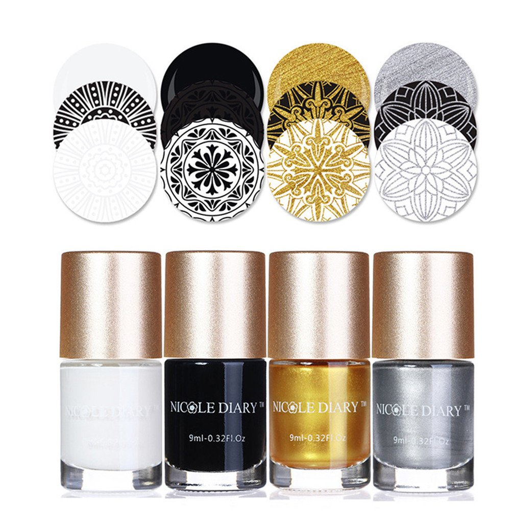 NICOLE DIARY 4Pcs Nail Art Stamping Lacquers Colori classici Creative Nail Polish Collection Nail Plate Vernice per Manicure Printing Decoration (Set 1)
