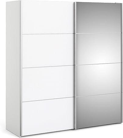 IRFU Verona - Armario corredizo, 180 cm, Color Blanco con Puertas de Espejo y 2 estantes: Amazon.es: Hogar