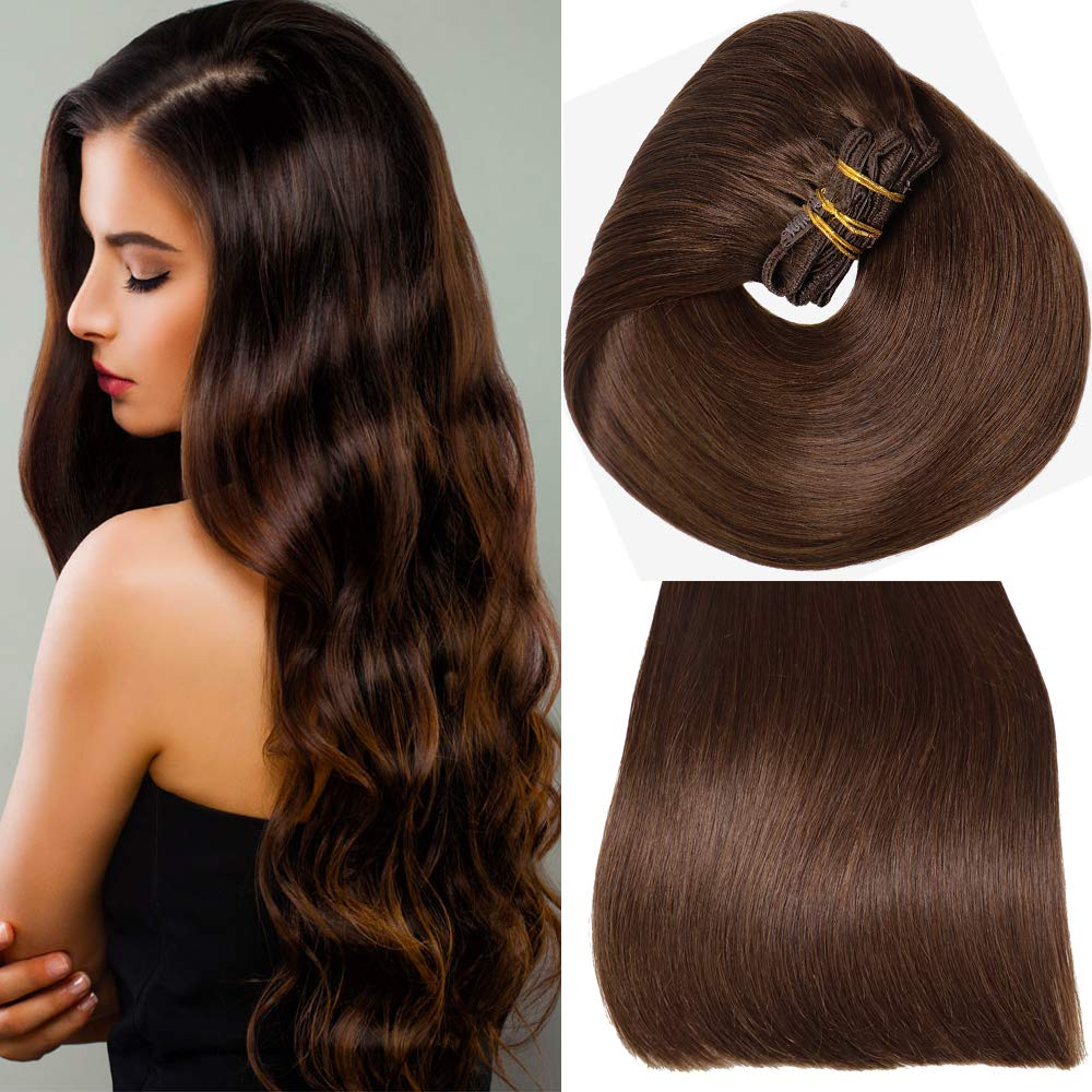 Aison 10 pcs 190g per package Clip in Human Hair Extensions 20 inch Dark Brown Thicken Double Weft 100% Remy Human Hair Super Real 9A grade Quality Silky Straight For Full Head by Aison