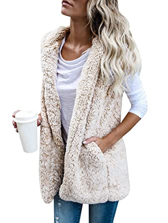 Womens Sleeveless Fuzzy Cardigan Hoodie Sherpa Fleece Open Front ...