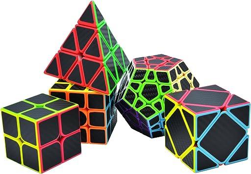 TOYESS Cubo Magico Puzzle Set, Pyraminx Piramide,Megaminx Dodecaedron,Skewb Cube,Speed Cube 3x3x3,2x2x2 Cubo de Fibra de Carbono Cubo de Velocidad Cajas de Regalo Set para Adulto Niños,Negro: Amazon.es: Juguetes y juegos