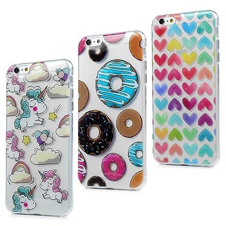 3x Funda iPhone 6S Plus, iPhone 6 Plus Carcasa Silicona Gel Case Ultra Delgado TPU Goma Flexible [Proceso IMD] No se descolora Anti-scrach Cover - ...