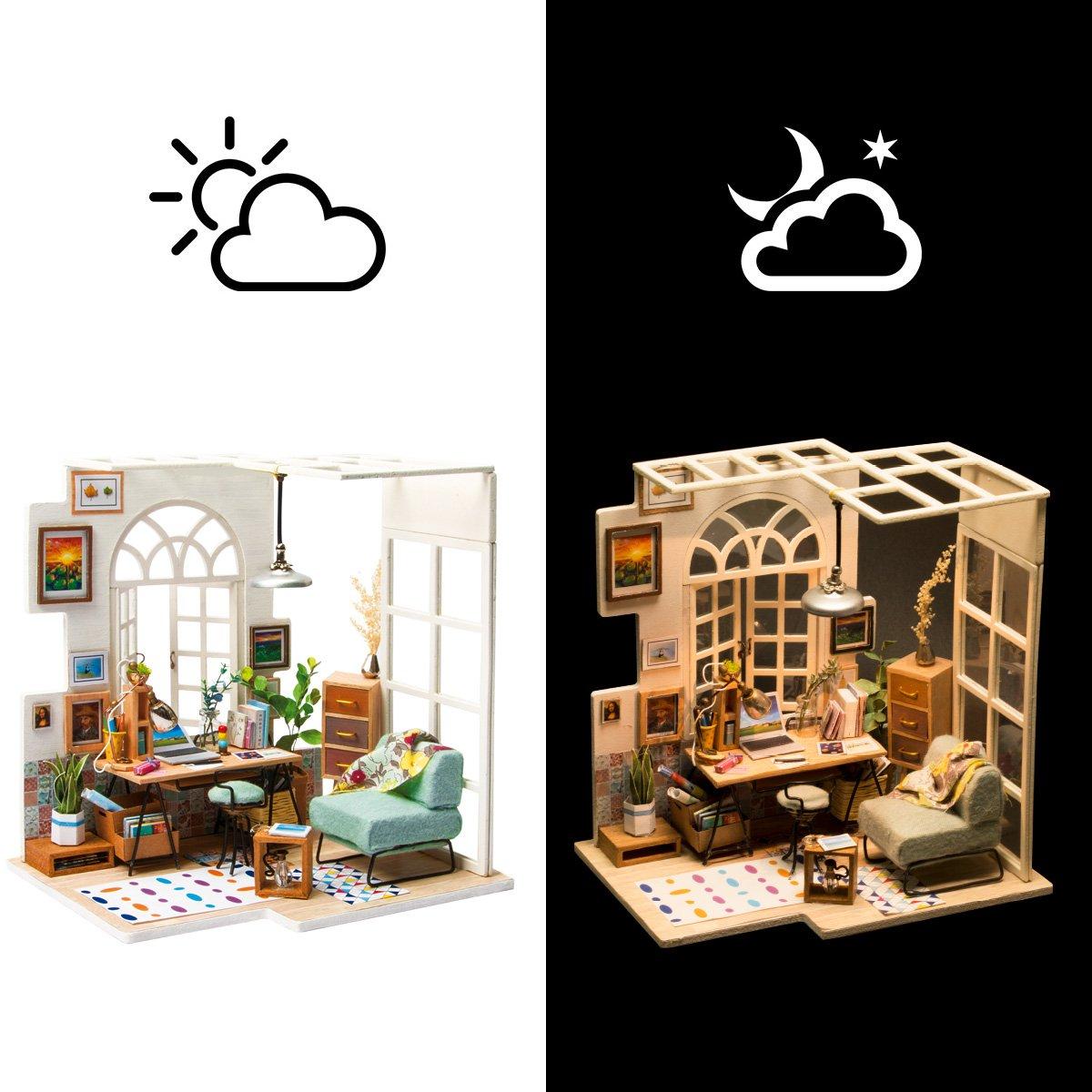 ROBOTIME Miniature House   Holz Puppenhaus Für 14 Jahre Alte Mädchen   Wohnzimmer  Zubehör Und Möbel Kits