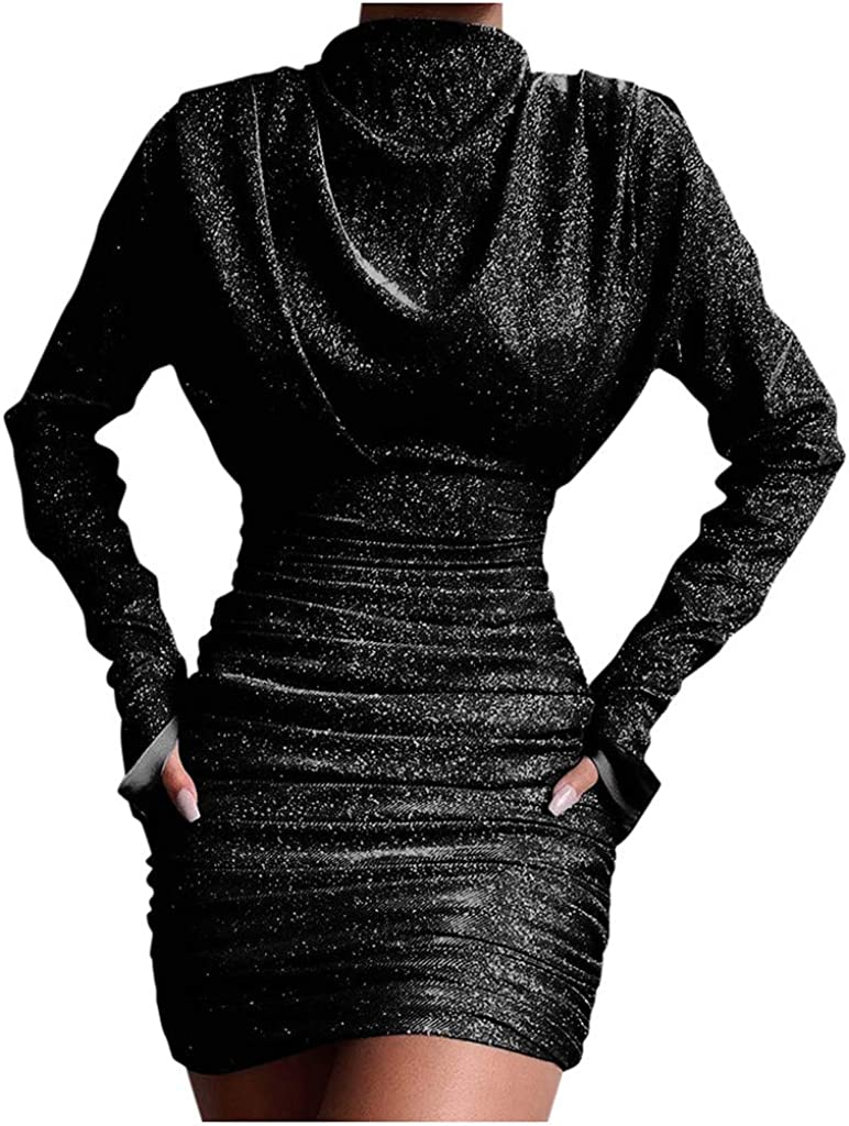 STORTO Womens Sexy Mini Dresses Ladies Sequins Wide Cowl Bodycon Long Sleeve Club Party Evening Dress