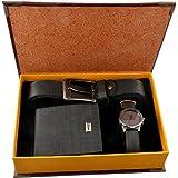 Souarts Set da uomo con cintura in pelle artificiale, orologio da polso analogico al quarzo e portafoglio, colore blu scuro