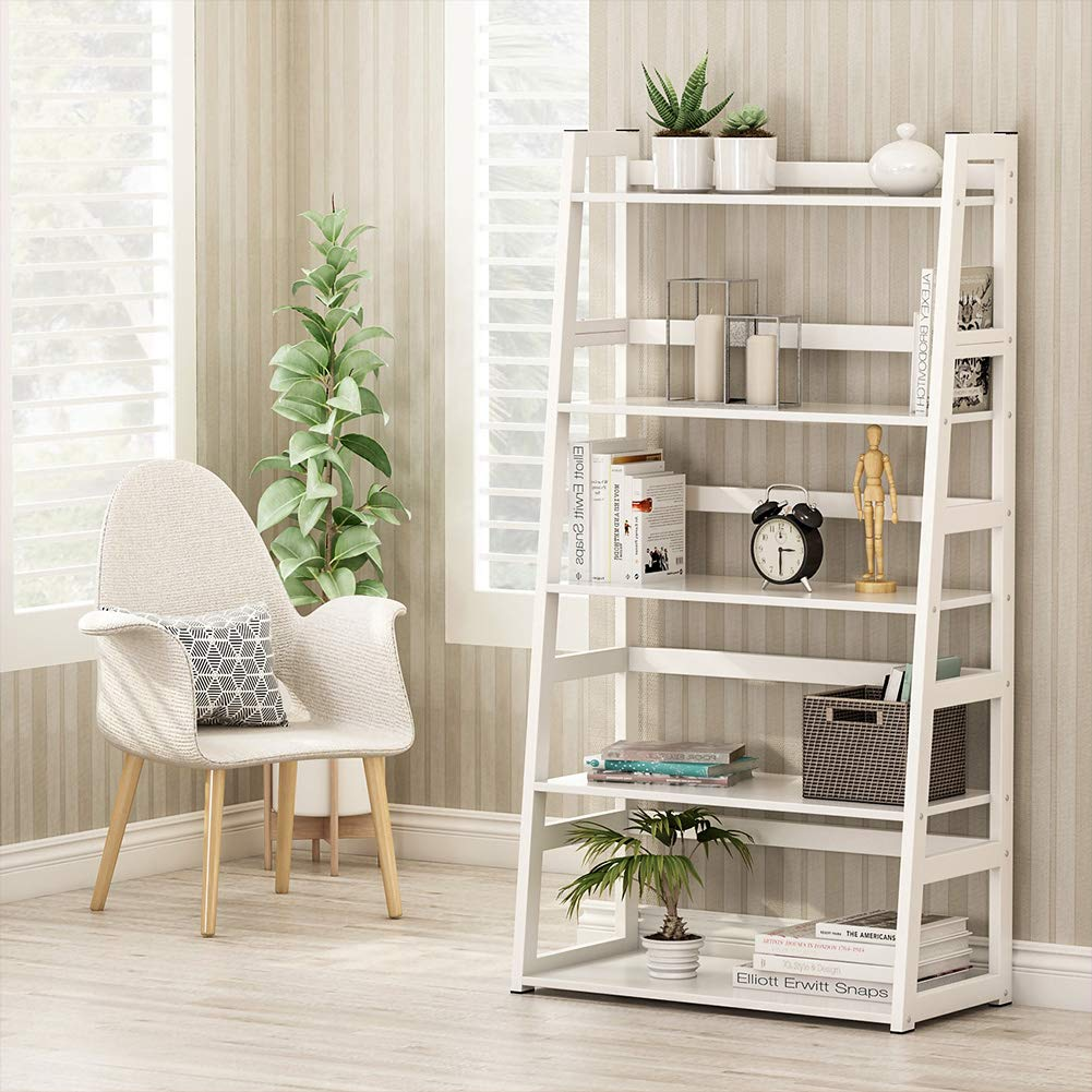 Tribesigns 5-Tier Bookshelf Modern Bookcase, Freestanding Leaning Ladder Shelf, Ample Storage Space for CD, Books, Home Decor (White) by Tribesigns (Image #2)