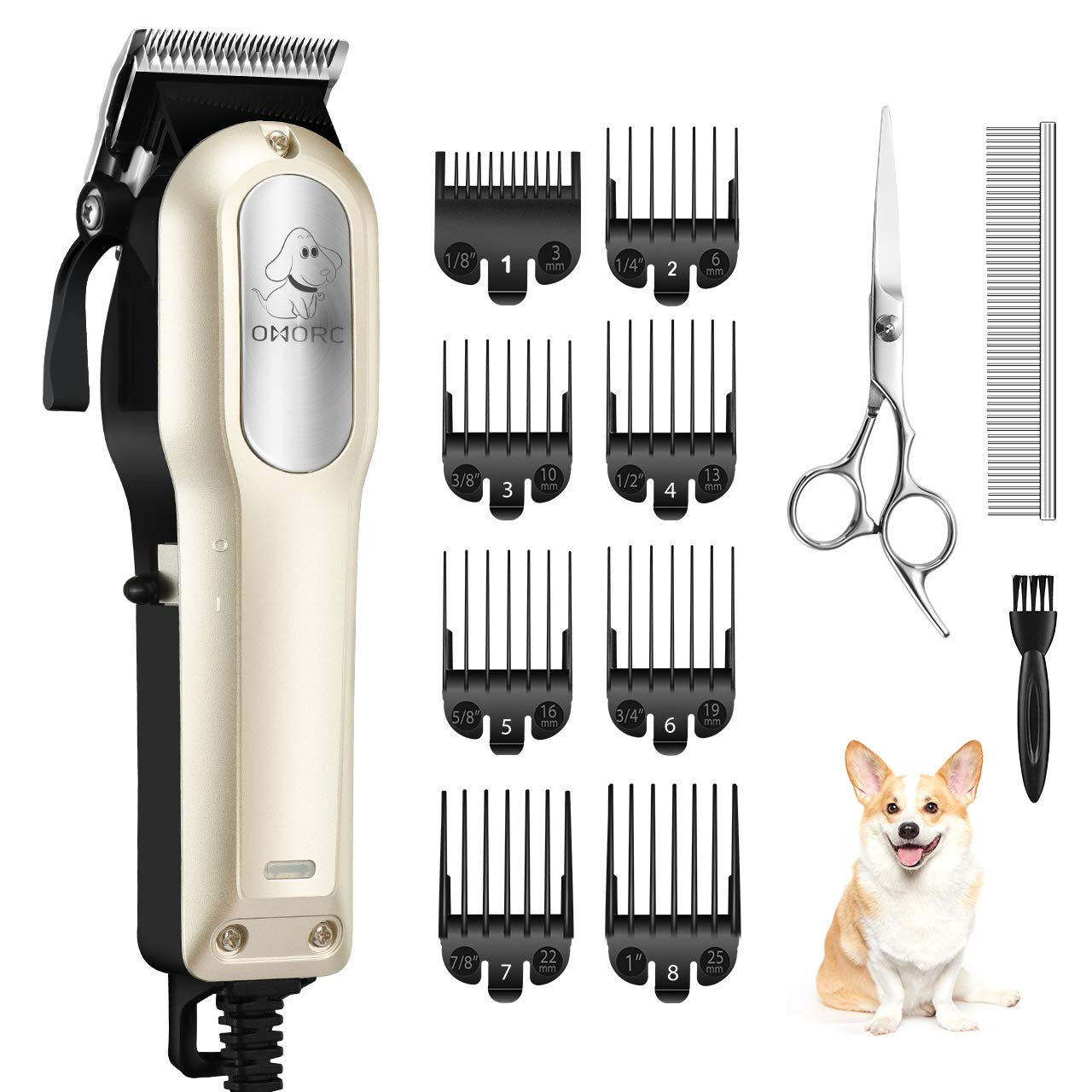 OMORC Dog Grooming Kit, Powerful Heavy-Duty Dog Clippers Low Noise Electric Dog Grooming Clippers Pet Clippers with 8 Comb Guides Scissors for Thin/Thick Coats Dogs Cats Pets by OMORC