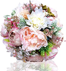 Abbie Home 9.5' Peony Rose Dahlia Bridal Wedding Bouquet Bride Holding Flowers Confession Bouquet