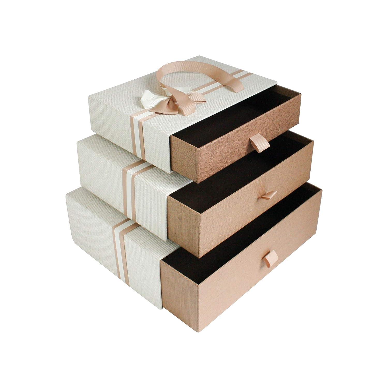 Tragegriff und Dekorativer Schleife Schokoladenbraunes Innenraum Emartbuy Set von 3 Starrer Luxus Rechteckig Geformt Schublade Pr/ä sentation Geschenkbox Creme Farben Schachtel mit Brauner Schublade