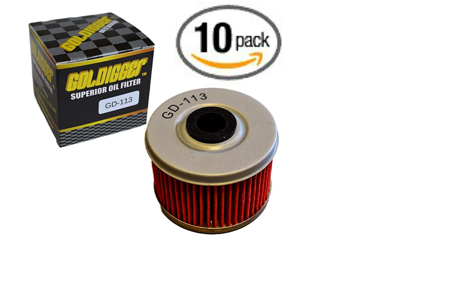 GOLDIGGER After Market HF113 & KN-113 Replacement Oil Filter Motorcycle/Dirt Bike/ATV Fit Honda TRX350 TRX400 FOREMAN RUBICON FOREMAN EX CB400 ATC250ES TRX500 (3 Pack)