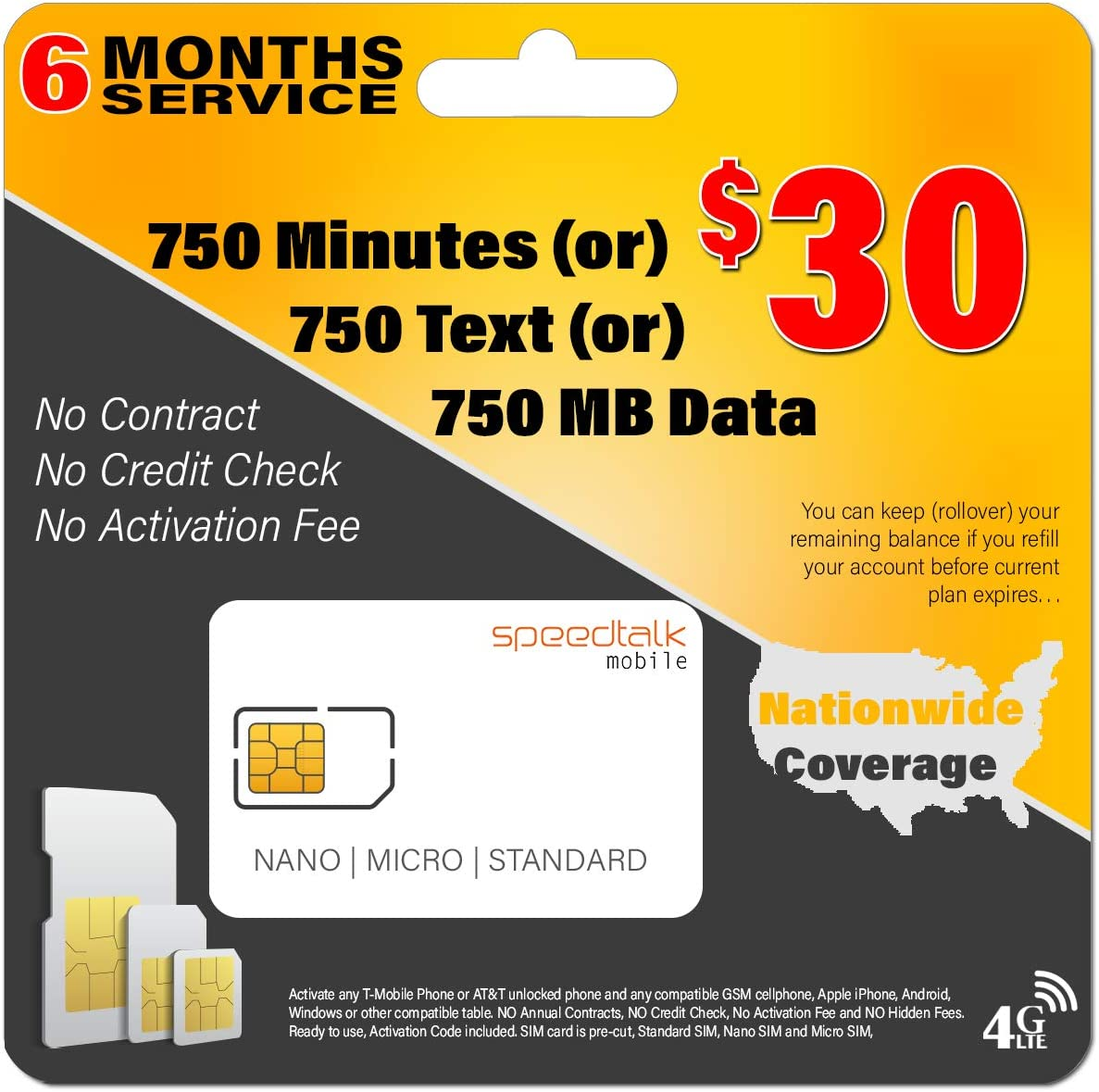 6 Months Service - $30 Preloaded GSM Mobile SIM Card - Rollover Plan - nicht Contract