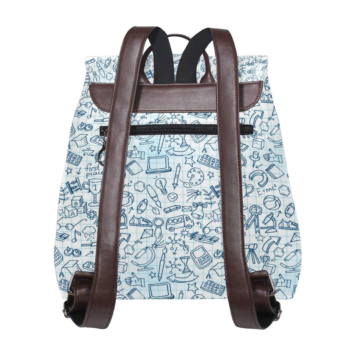 Leather Sachool Doodles Blue Backpack Daypack Bag Women