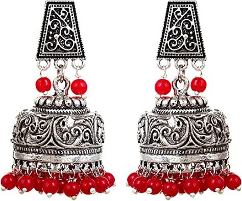 Sansar India Oxidized Stud Jhumka Indian Earrings Jewelry for Girls and Women