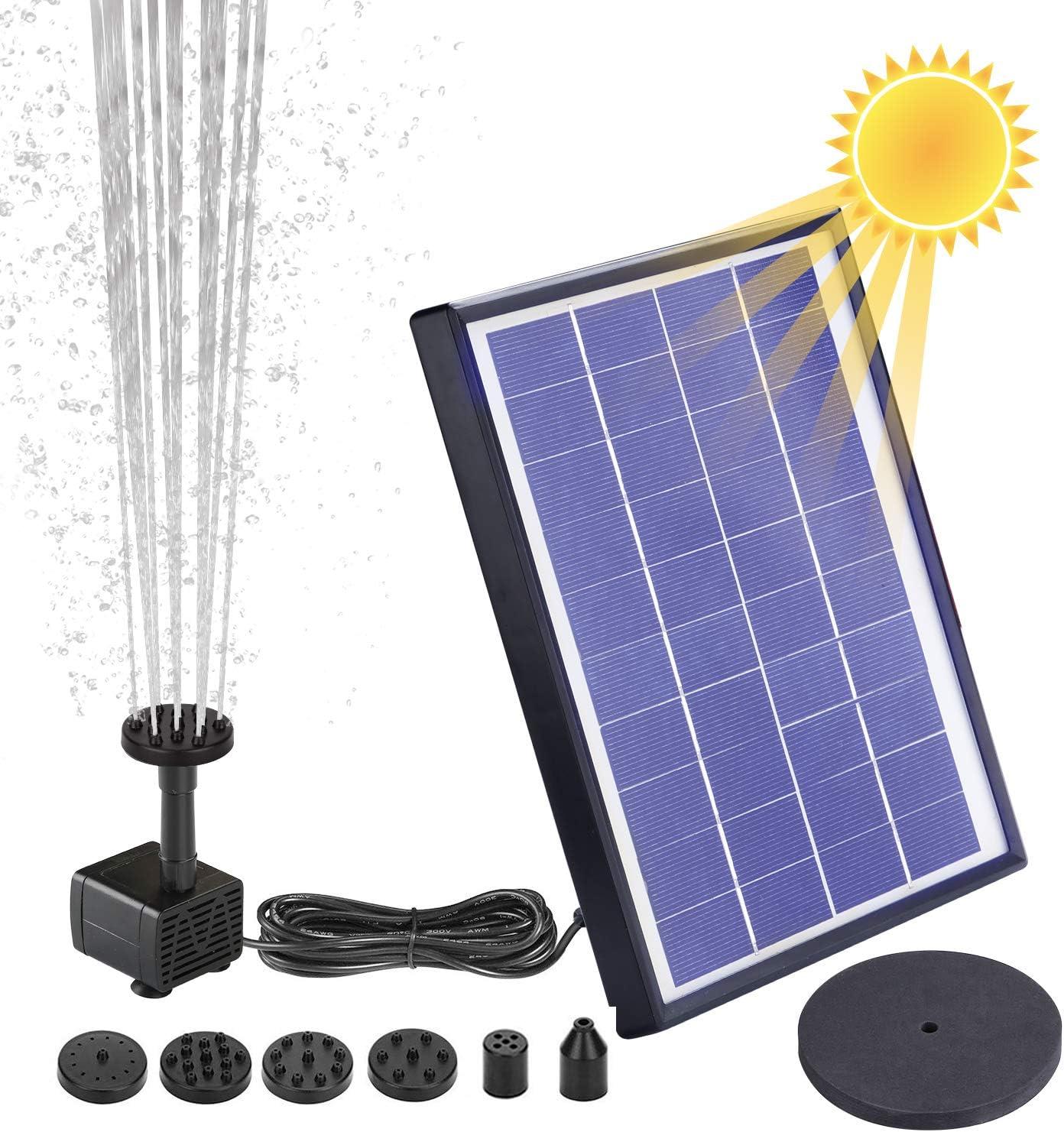 AISITIN Solar Fuente Bomba, 6.5W Fuente de Jardín Solar, Batería Incorporada, Caudal 400 L/H, con 6 Boquillas y Tabla Flotante para Pequeño Estanque, Baño de Aves, Fish Tank y Decoración del Jardín