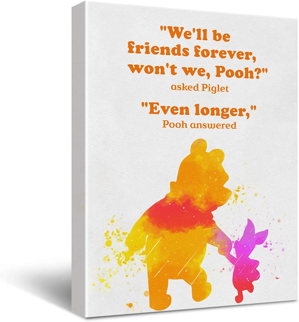 Classic Winnie The Pooh Friendship Quote Watercolor Poster Canvas Wall Art Painting Ready to Hang Home Decoration for Nursery/Bedroom/Kids Room Decor - Winnie The Pooh Gifts for Kids Teens Girls Women - 11.5x15 Inch