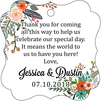 Darling Souvenir Custom Names Thank You For Celebrating With Us Wedding Hang Tags Personalized Party Tags-Floral White-50 Tags