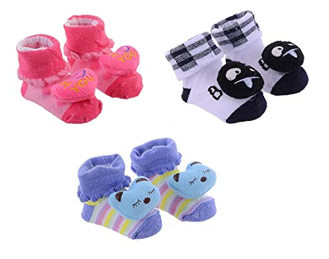 202a7a61f08fb Clastik Cartoon Face Socks for Baby Girl and Boy (0-12 Months,Multicolor)  Pack of 3 Pairs Color and Design May Vary: Amazon.in: Clothing & Accessories