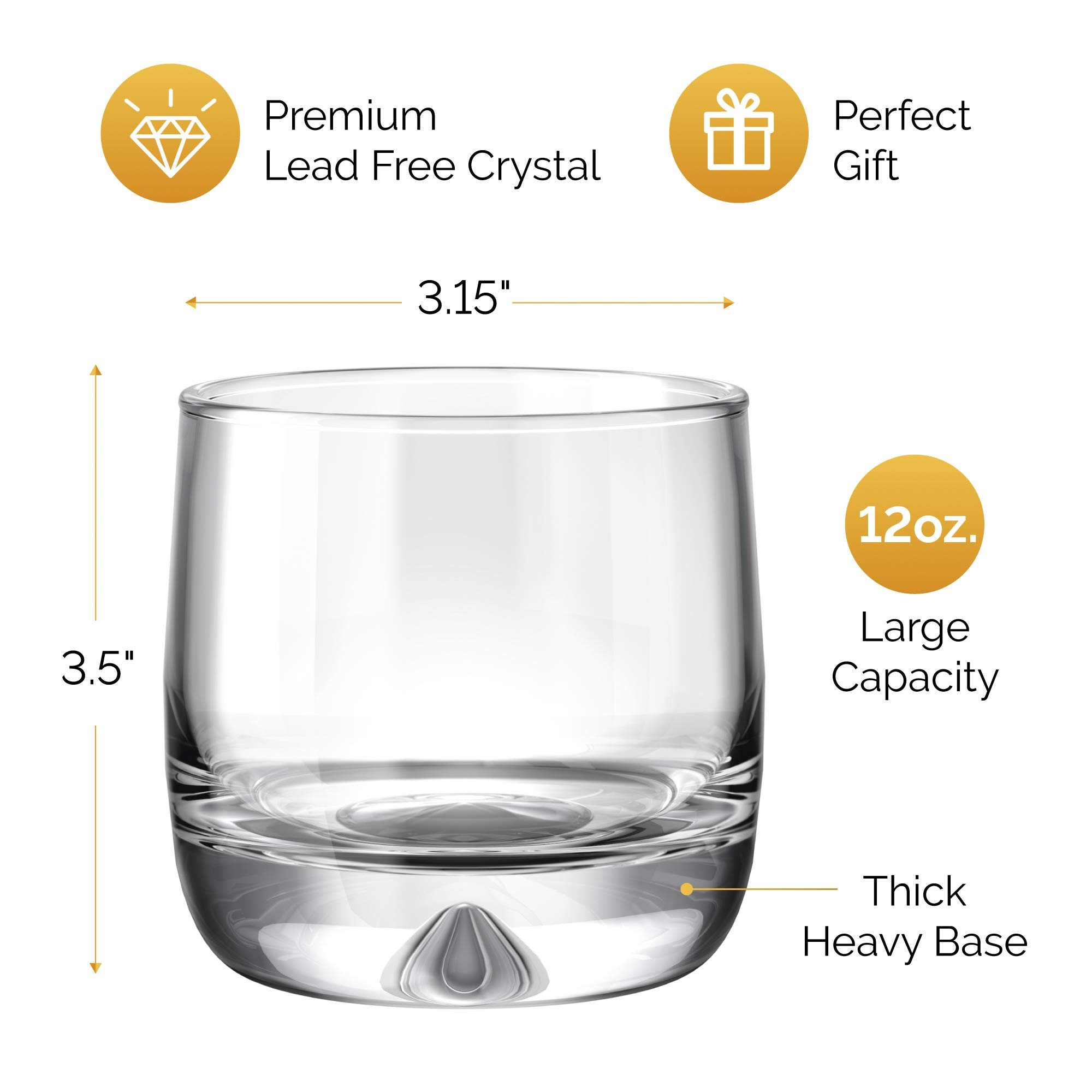Premium Whiskey Glasses - Large - 12oz Set of 2 - Lead Free Hand Blown Crystal - Thick Weighted Bottom - Seamless Handmade Design - Perfect for Scotch, Bourbon, Manhattans, Old Fashioned's, Cocktails. by Mofado (Image #2)