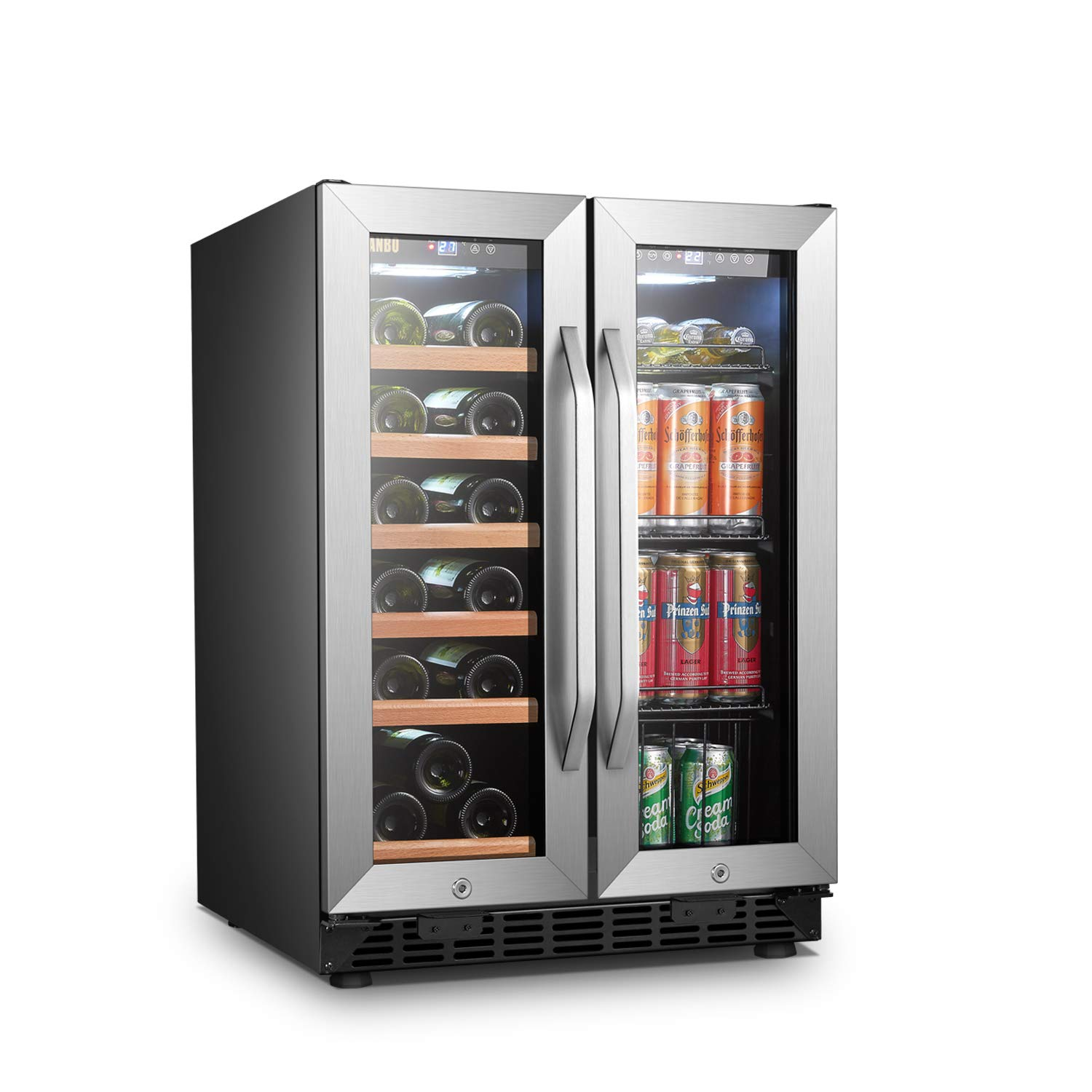 LANBO Wine and Beverage Refrigerator, Compact Built-in Wine and Drink Center Combo, 18 Bottle and 55 Can