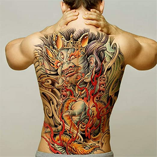 tzxdbh 2Pcs-Large Back Back Tattoo Maori Power Totem Impermeable ...