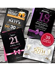Personalised Birthday Invitations/Party Invites Choose from 39 Stunning Designs • 18th 21st 30th 40th 50th - Any Age. Customise All Wording and Colours. Free envelopes and Free delivery