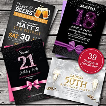 Personalised Birthday Invitations Party Invites Choose From 39 Stunning Designs O 18th 21st 30th 40th