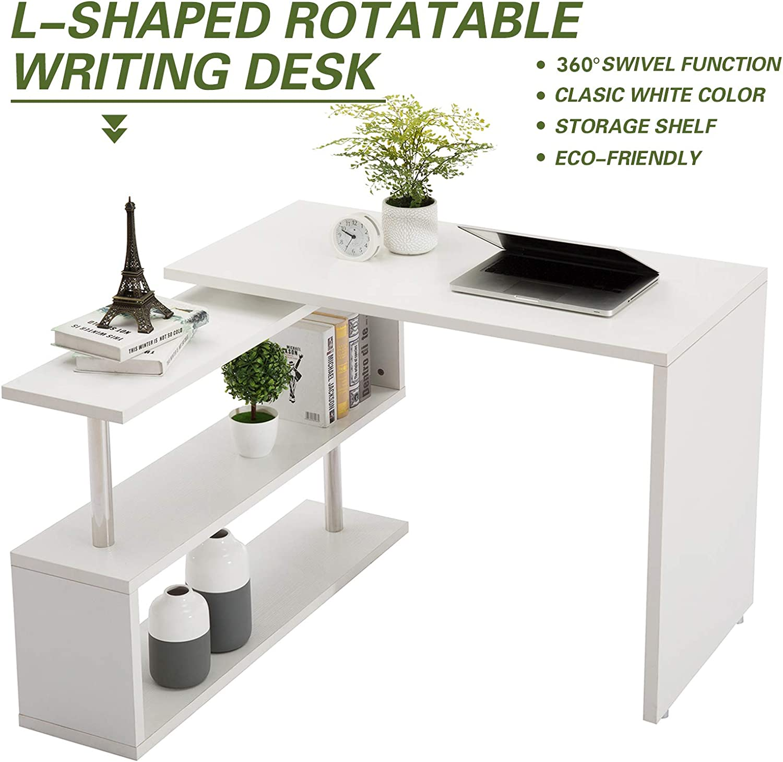 Amazon.com: Modern Rotating Desk L-Shaped PC Table Swivel Corner Computer  Desk Laptop Workstation W/2-Tier Large Storage Bookshelves for Home Office  40inch White: Kitchen & Dining