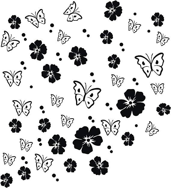 Kleb Drauf 19 Blüten 19 Schmetterlinge Und 42 Punkte Schwarz Matt Autoaufkleber Autosticker Decal Aufkleber Sticker Auto Car Motorrad Fahrrad Roller Bike Deko Tuning Stickerbomb Styling Auto