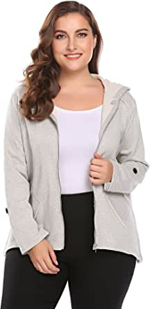 IN'VOLAND Zip Up Jackets Women Plus Size - Light Casual Long Sleeve Hoodie Jacket
