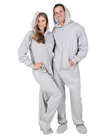 d4d439e51 Amazon.com  Footed Pajamas Joggies - Laid-back Gray Adult Hoodie ...