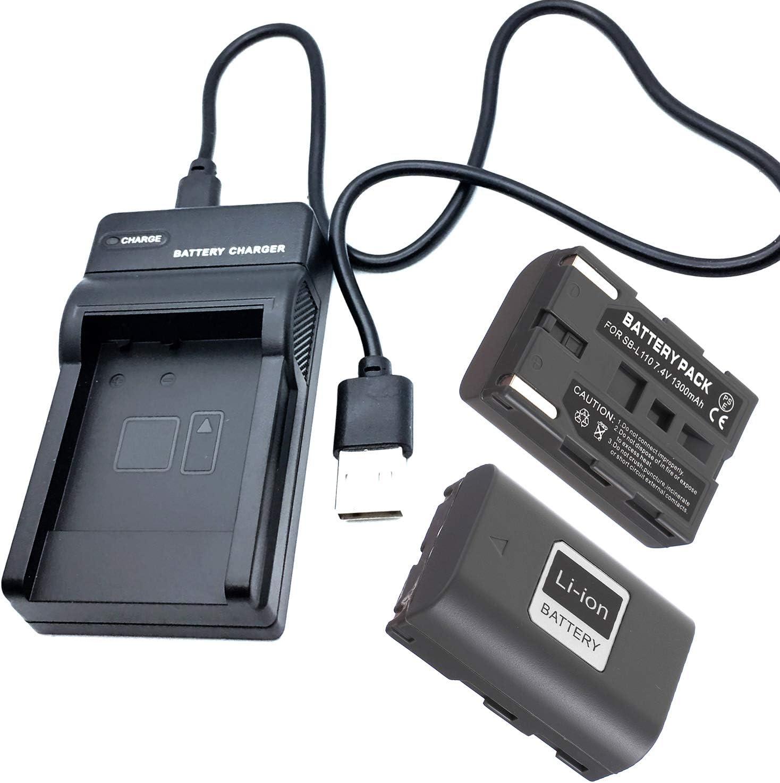 VP-D11i Battery Pack and LCD USB Travel Charger for Samsung VP-D10i VP-D15i Digital Video Camcorder