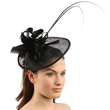 Handmade Feathers Floral Headband Fascinator Disc Millinery Cocktail Hat  Black a452ed711f1