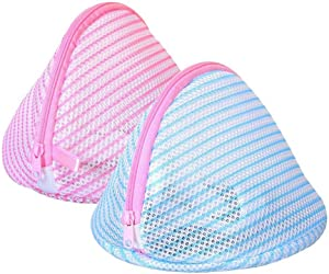 Large Size Laundry Bra Wash Bags, Double-Wall for Lingerie/Underwear/Delicates, Set of 2 in Stripe Design