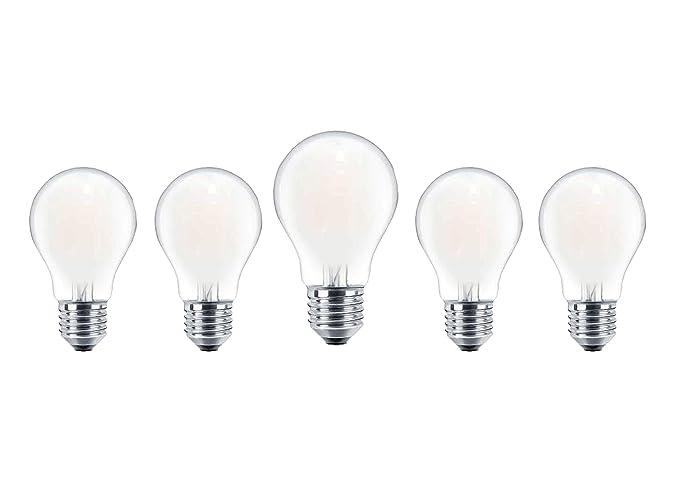 Set di 5 lampadine filamento led goccia a60 7w 650 lumen frost