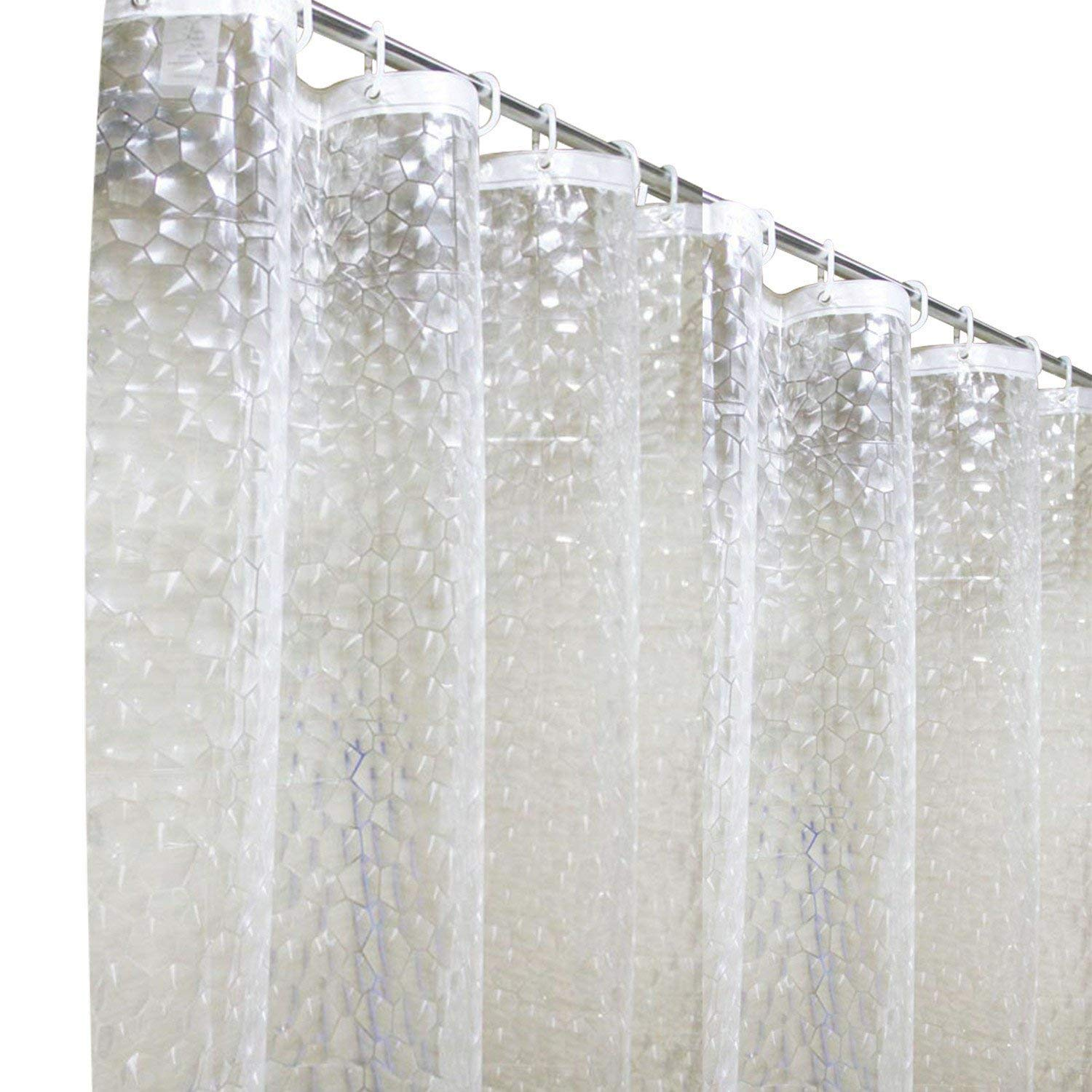 MeCare Shower Curtains 120 X 180 Cm 3D Waterproof And Mildew Resistant Semi Transparent Bathroom Curtain With 8 Hooks Amazoncouk Kitchen Home