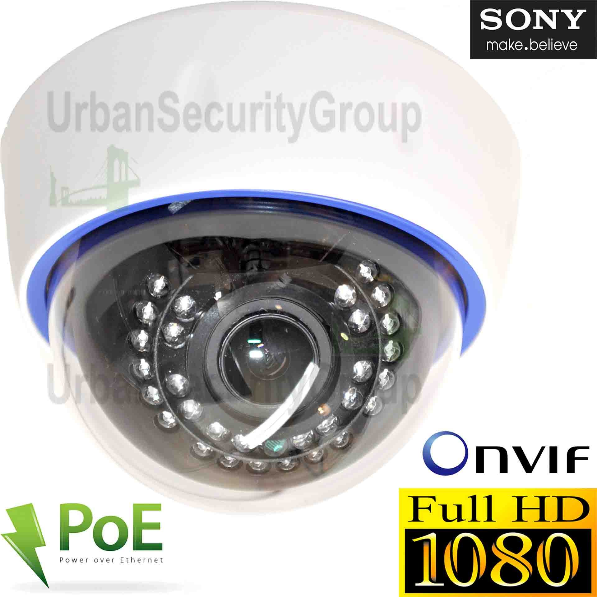 USG 2MP 1080P IP PoE Dome Network Security Camera : 2.8-12mm Varifocal Lens : 30x IR LEDs : IR-Cut, ONVIF, WDR, Motion Detection : Easy To Mount Indoor Plastic Dome Housing