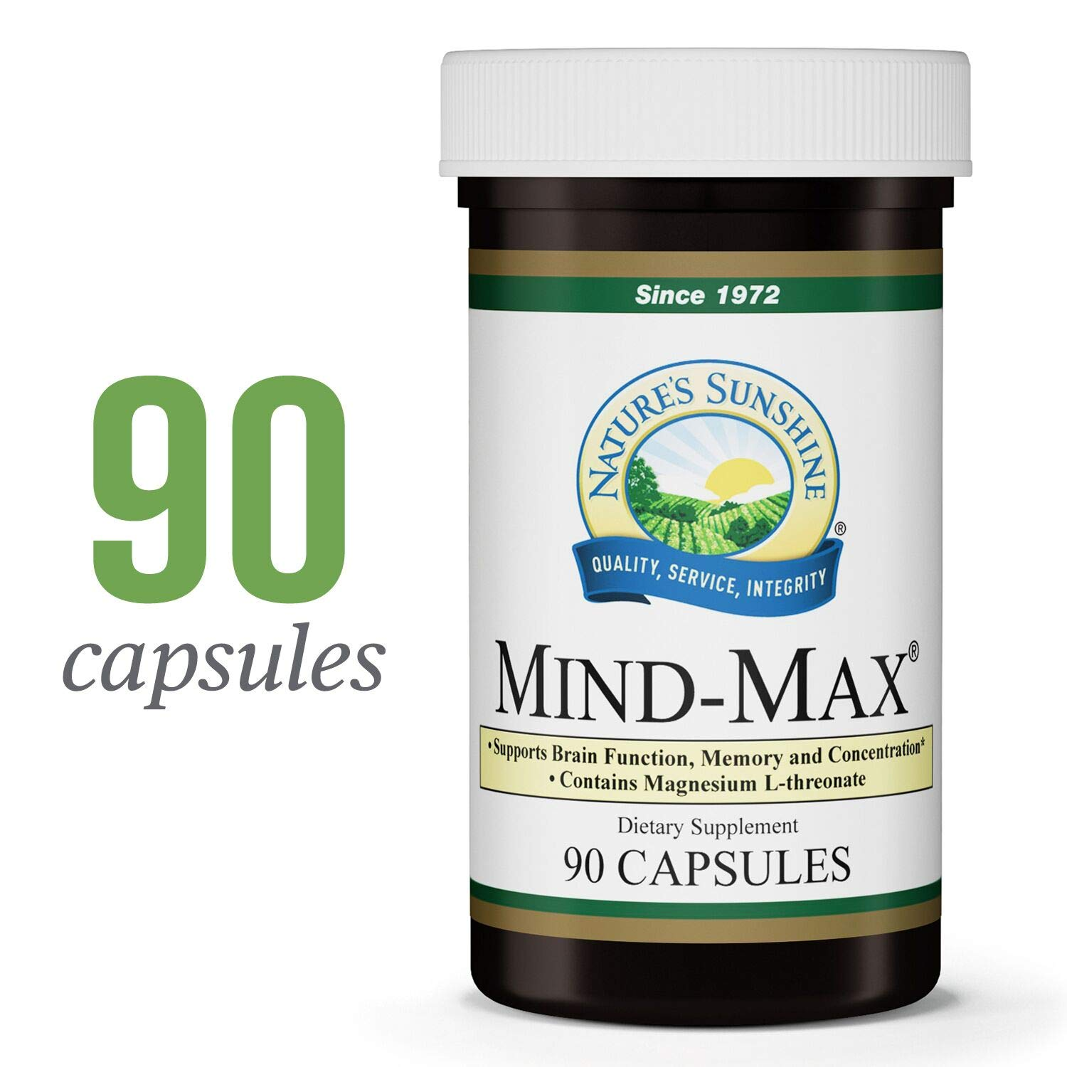 Nature s Sunshine Mind-Max, 90 Capsules Focus Supplement with Magnesium L-Threonate Supports Brain Function and Naturally Encourages Greater Focus, Energy, Memory, and Clarity