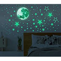Glow in The Dark Moon and Stars Wall Stickers, 437PCS Adhesive Room Decor, Ceiling Art Stickers for Starry Sky at Night…