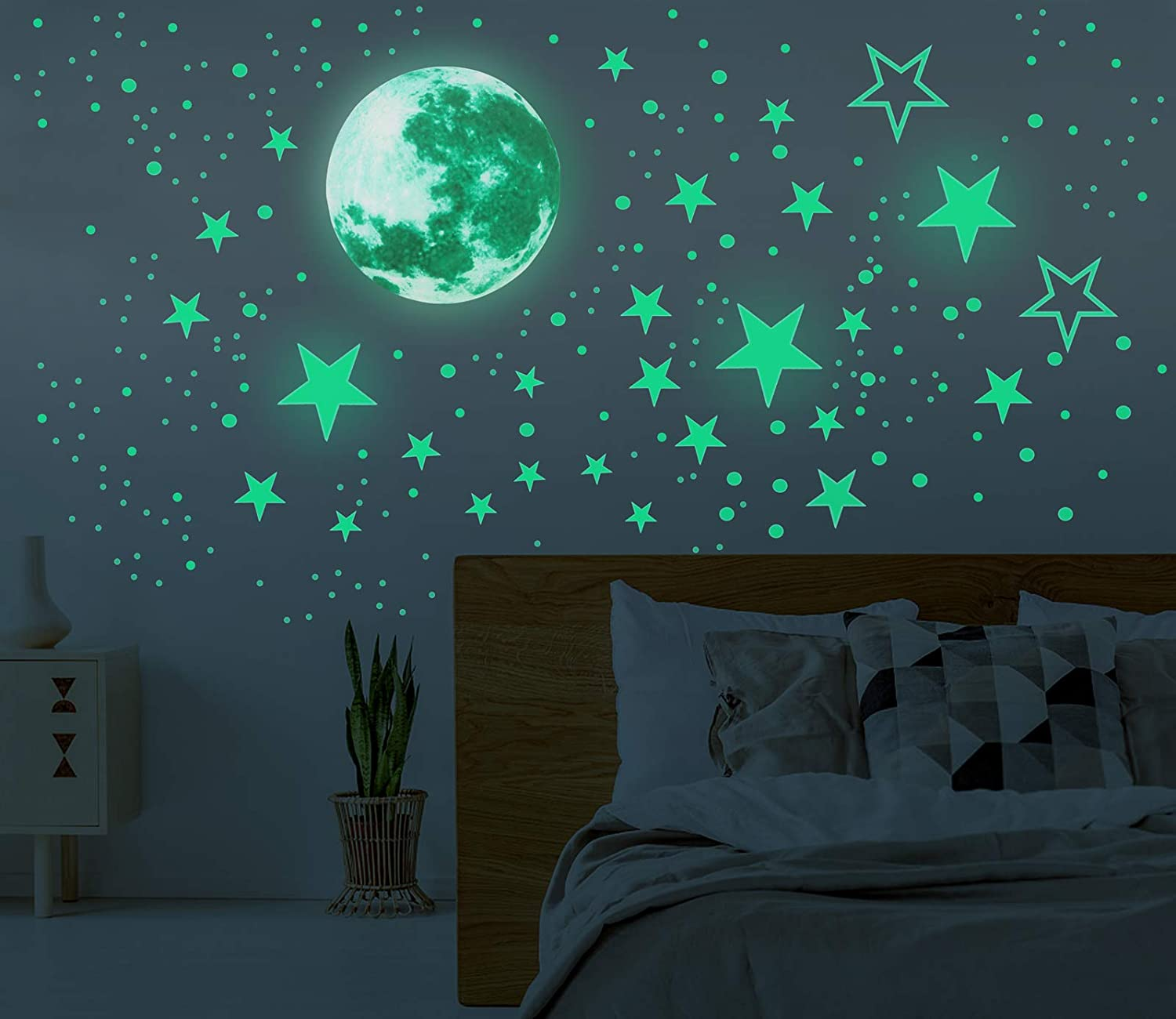 Glow in The Dark Moon and Stars Wall Stickers, 437PCS Adhesive Room Decor, Ceiling Art Stickers for Starry Sky at Night, Removable Wall Stickers, Great for Kids' Bedroom